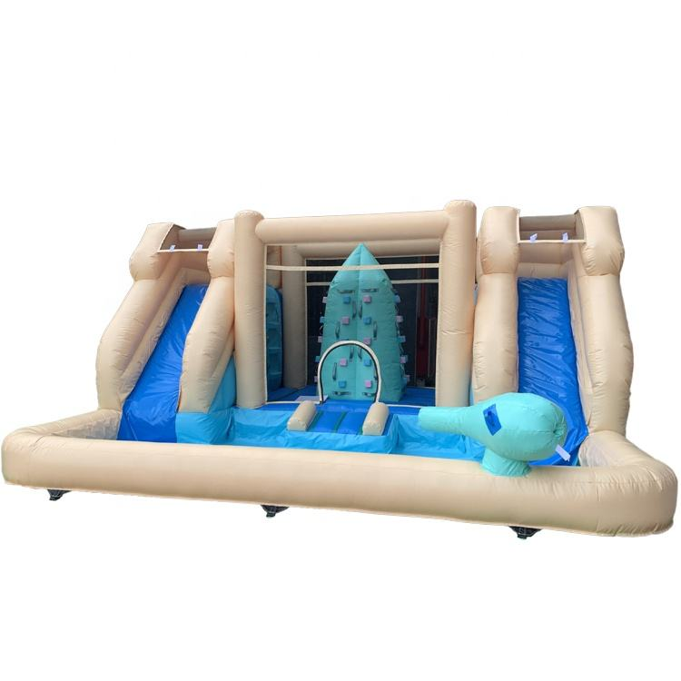 Comercial juego inflables deslice combo castillo inflable con piscina inflable tobogán de agua combo