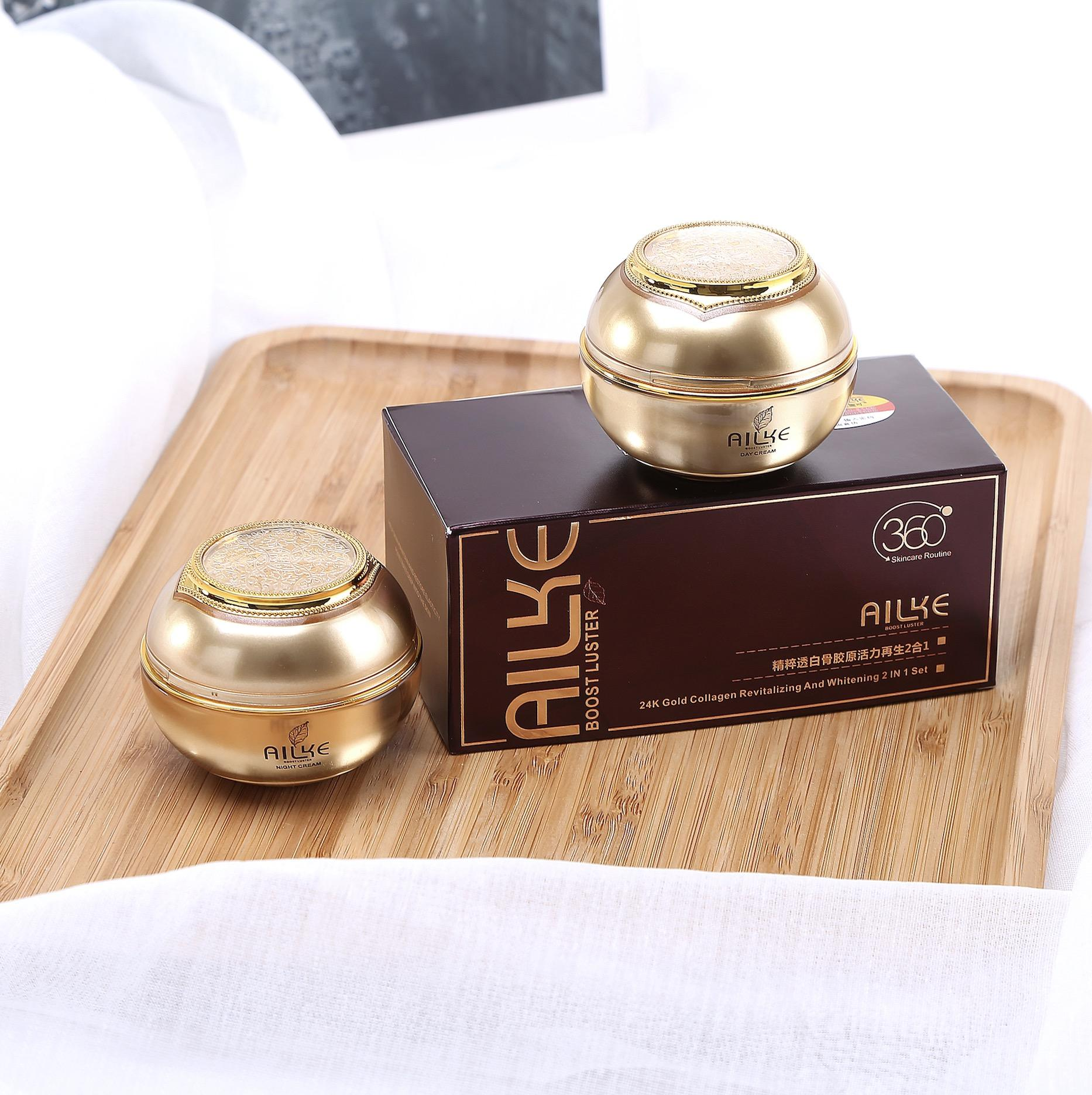 AILKE Cosmetics Brands Face Cream Set 2 In 1 Cleansing Repair Whitening Day And Night Cream USA