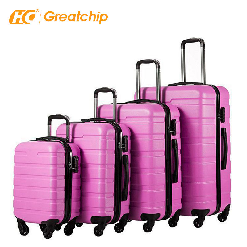 Best quality modern 4 piece set pink trolley ABS luggage sets
