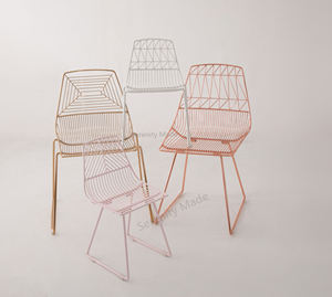 Rose Gold Metall Draht Mesh Outdoor Dining Chair Für Café/Restaurant/Bar