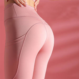 Print Cheap Price Summer Running Advance Polyester Nylon Spandex Double Side Pocket Grey Yoga Pants Leggings For Women Sculpt