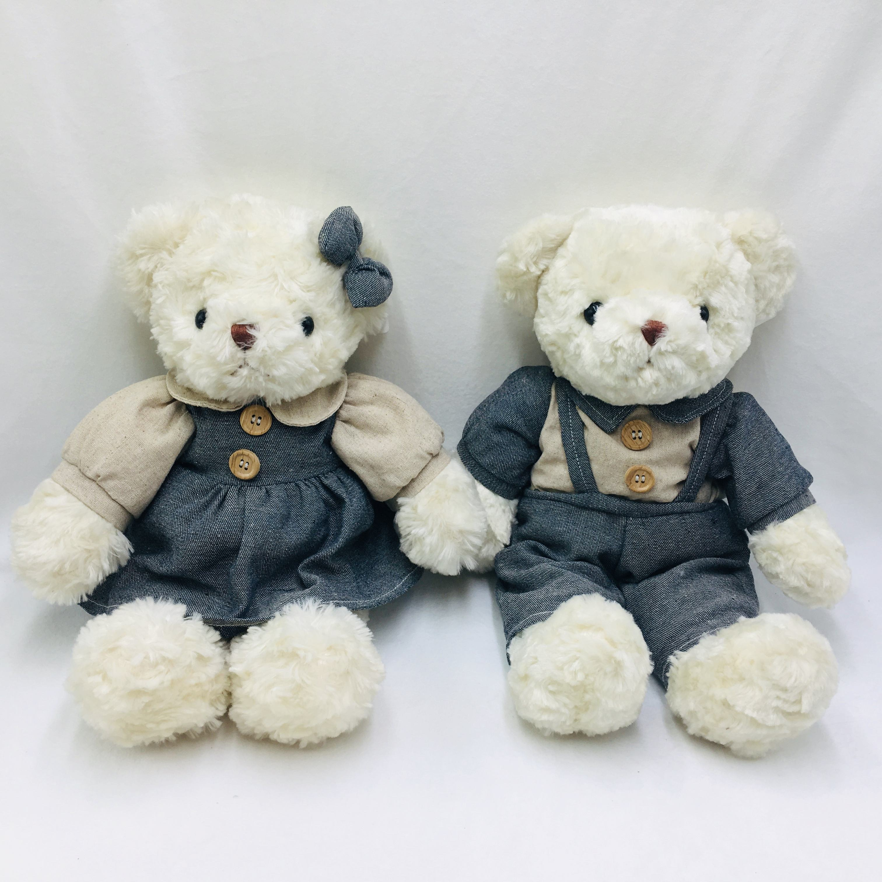 36cm White Teddy Bear Plush Toys Customized Birthday Wedding Gift Hello Kitty