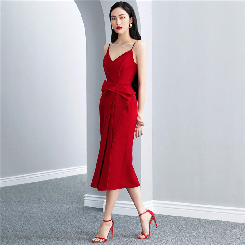 A3738 Red Fashion Women Solid Spaghetti Straps Sleeveless Sexy Dresses Long Length Ladies Casual Dress New