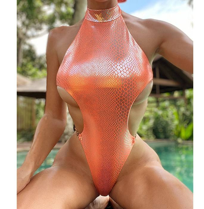 2020 Very New Style Bling Snakeskin Printing One Piece Swimsuit For Women