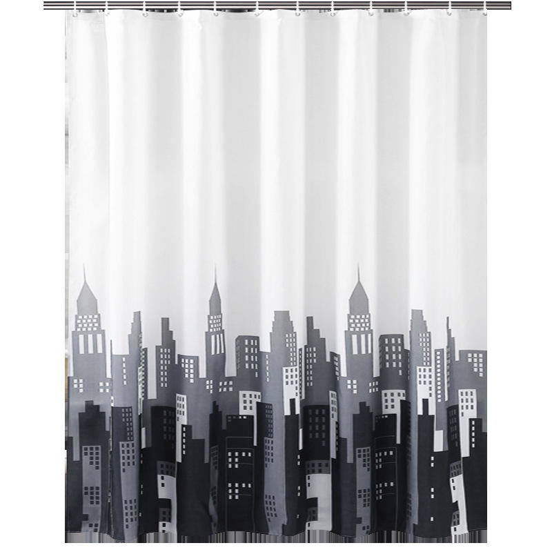 IMF Chic Home Textile New York Skyscrapers Printed Bathtub Drapery Waterproof Shower Curtain for Bathroom