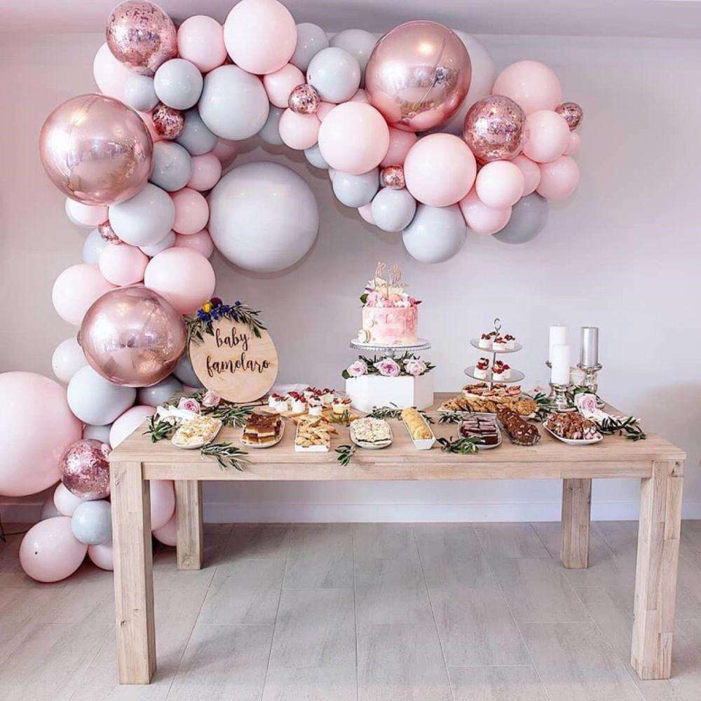 22 Inch Rose Gold Balloon 4D Round Foil Helium Balloons For Baby Shower Baby Birthday Party Supplies Chrome Metal foil ballon