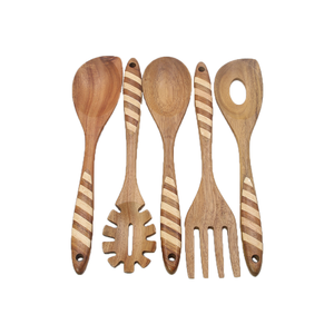 New designed spoon set wooden spoon cooking customizable eating utensils spoon