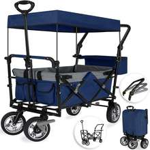 Outdoor Multi-Munction Portable Rolling Lightweight Buggies Push Pull Wagon Utility Foldable Wagon Carts with Canopy for Kids