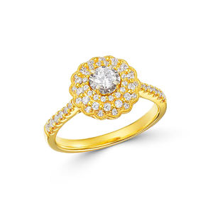 Customized 18k gold Plated 925 Silver Cubic Zirconia Diamond Engagement Wedding Ring