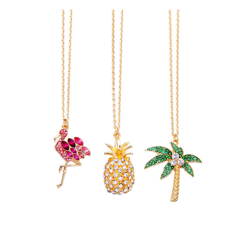 Yiwu Fancy Roze Crystal <span class=keywords><strong>Flamingo</strong></span> Kettingen Cross Boom Hand Lip Ananas <span class=keywords><strong>Ketting</strong></span>