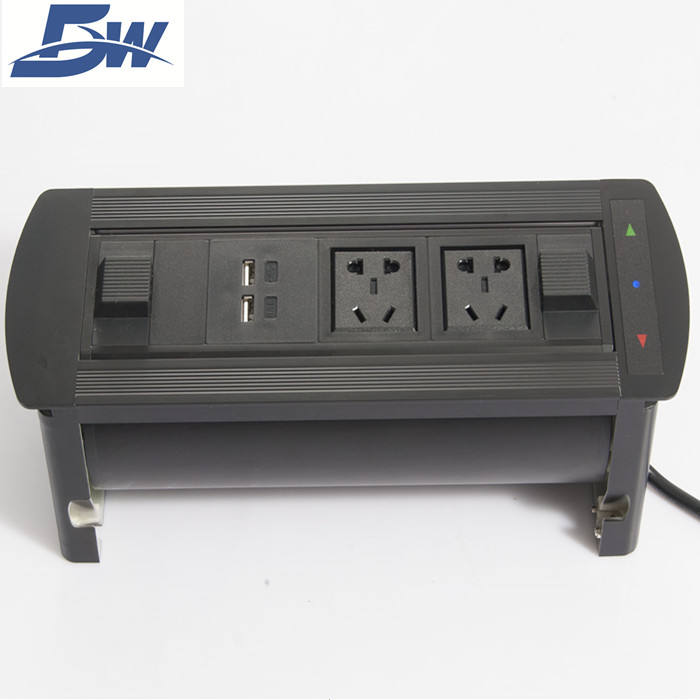 Multimedia Tafelblad Schakelaar Socket/Bureau Connection Box Met Usb RJ45 Audio/Modulaire Roterende Outlet