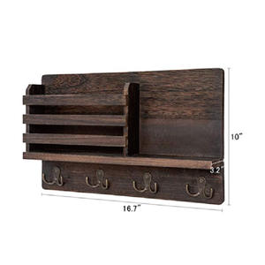 Wall Mounted Mail Holder Wooden Mail Sorter Organizer with key holder