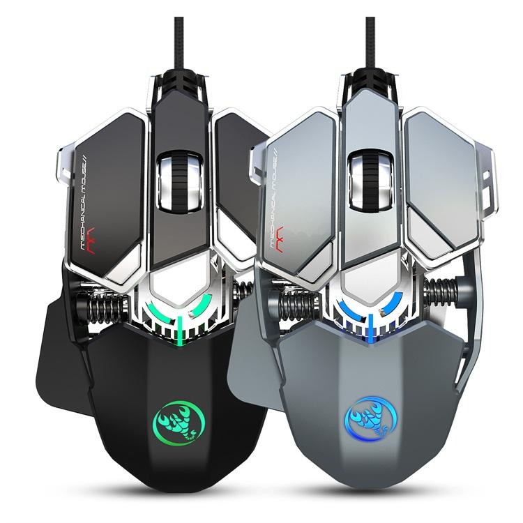 Full Key 9 Customizable Programming Mechanical Design Optical Mouse Wired Gamer for Computer