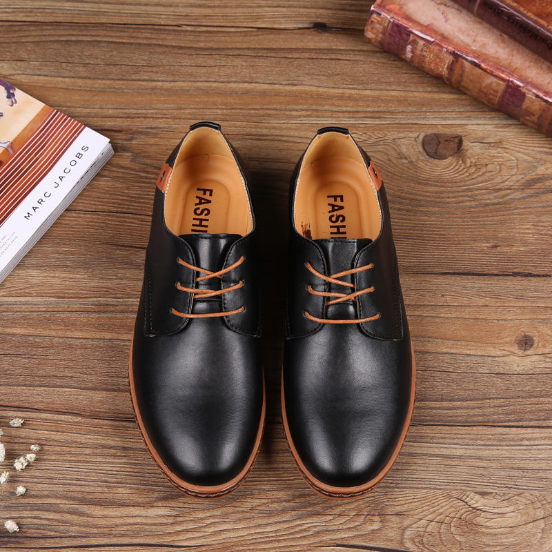 Wearable clothing shoes comfortable PU leather casual wear shoes