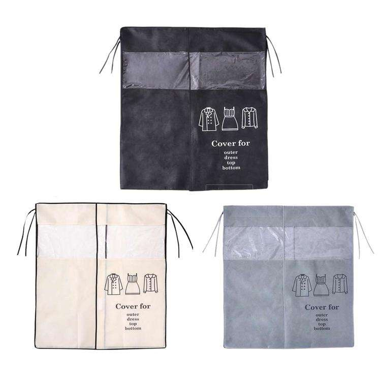 Non-woven Coat Dust Cover Transparent Clothing Dust Cover for Household Wardrobe Dress Clothing Hanging Dust Cover