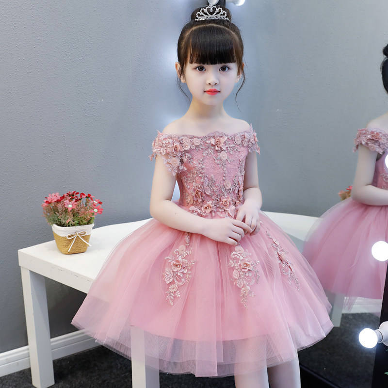 Haobaby Flower Girl Dress 2020 Summer Girls Evening Party Dress Fluffy Pony Piano Performance Princess Wedding Dress