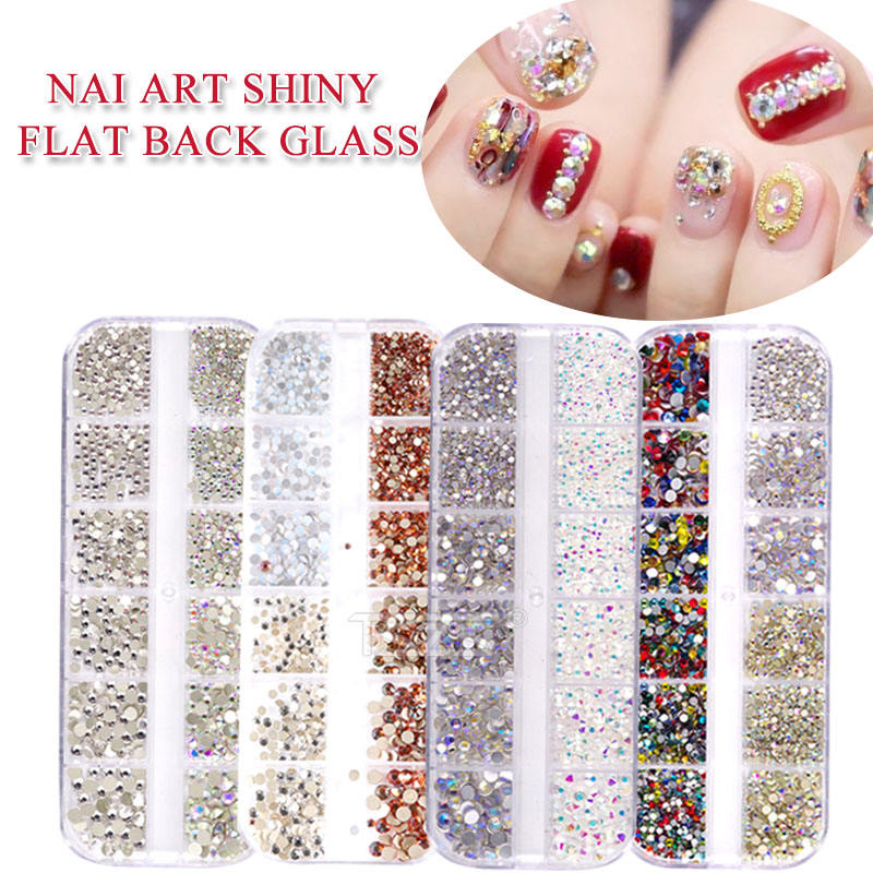 TSZS super quality 1440pcs box packing 3D shiny flat back glass accessories crystal 2020 nail art decoration