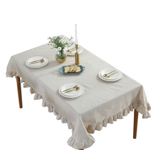 rectangle Lotus lace grey cotton linen custom square table clothes set