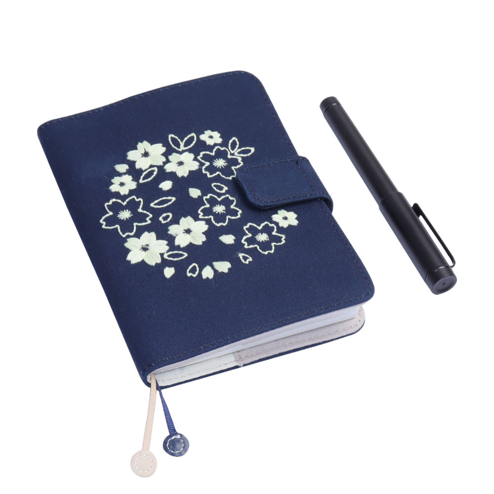 Wholesale planner flower embroidery cloth customizable hardcover journal