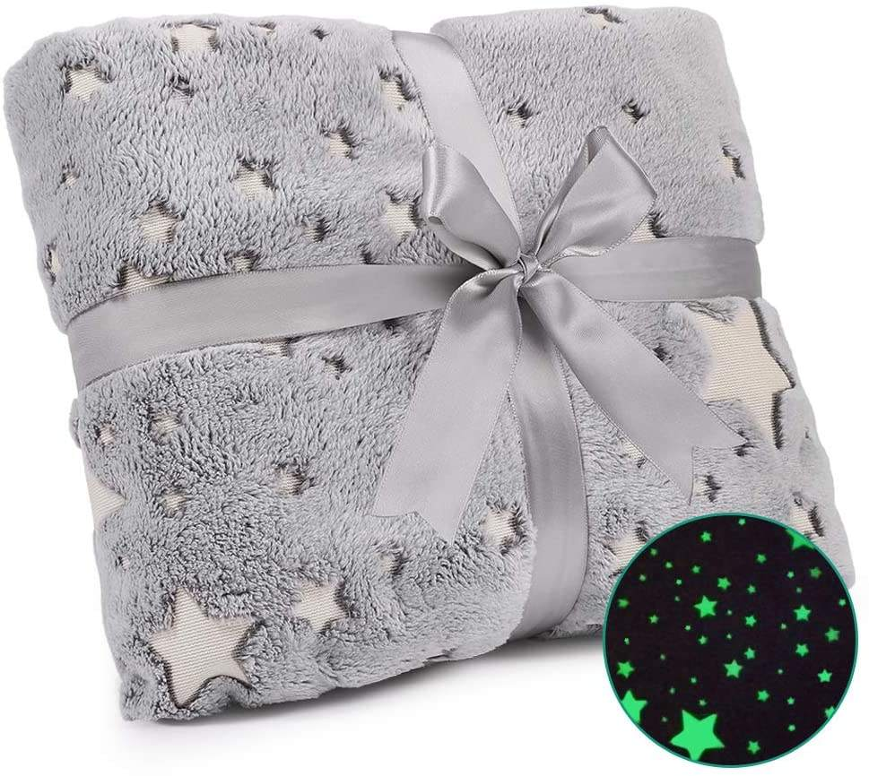 Wholesale 100% Polyester Throw Fluorescent Glow In The Dark Luminous Thin Fleece flannel Blankets