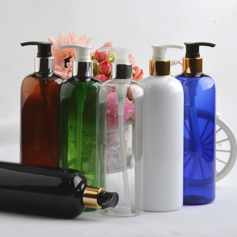 PET colored plastic bottle 100ml 150ml 200ml 250ml 500ml with gold silver lotion pump dispenser