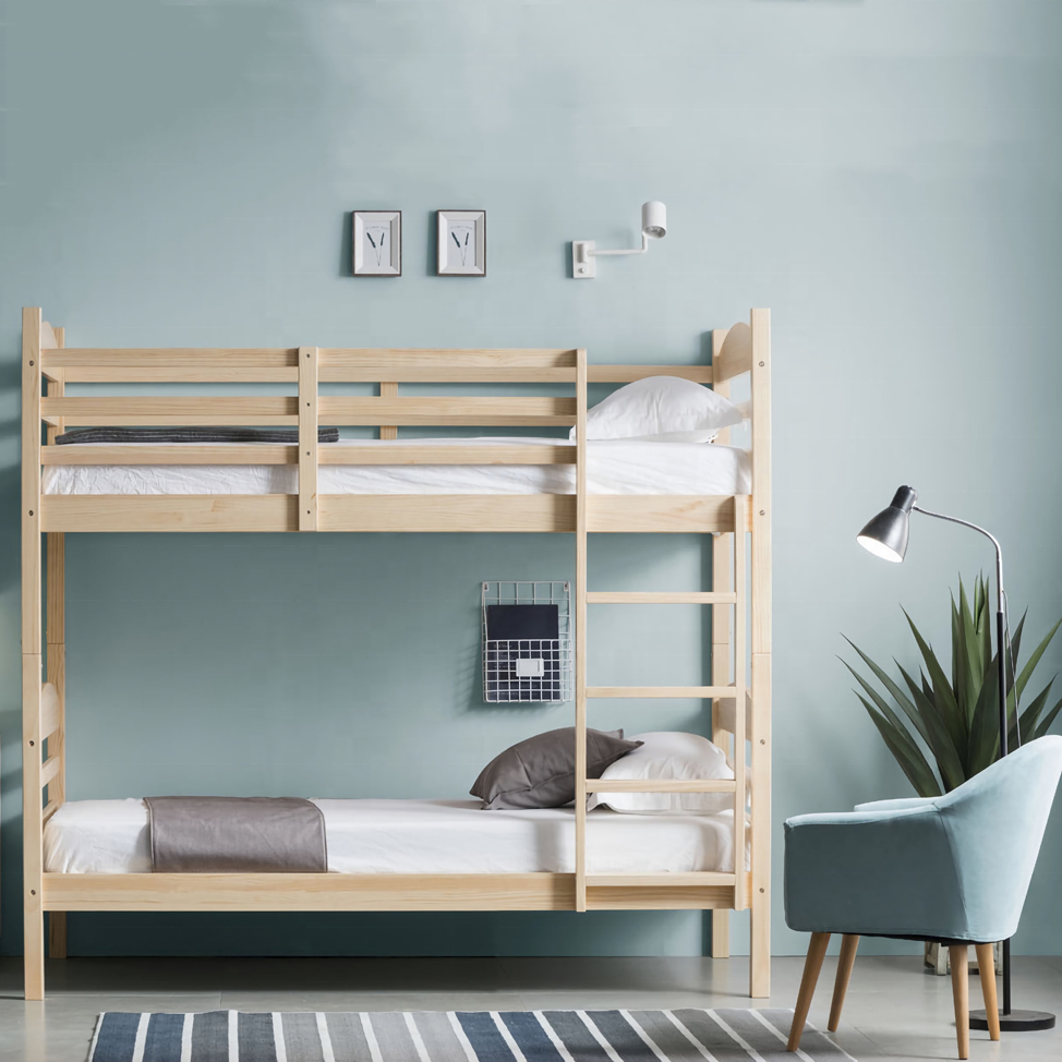 Dorm separation student wooden bunk bed with stairs and dormitory furniture twin over twin detachable bunk bed pine soild wood