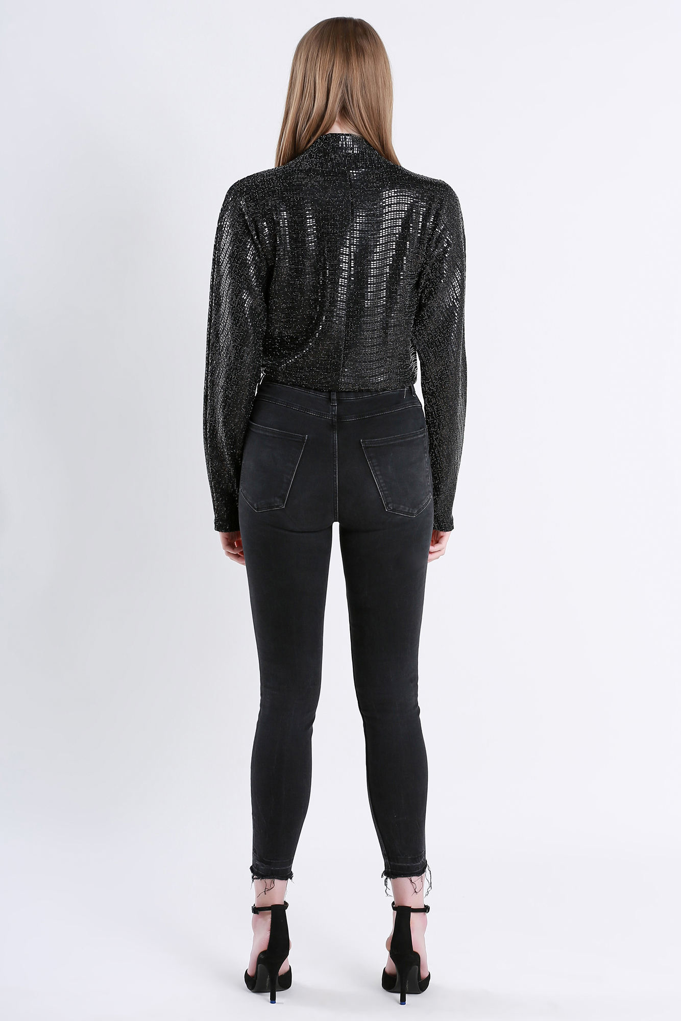 Sexy Blouses J H Fashion Design Black Blouse Sequin Long Sleeve Sexy Deep V Body Suit
