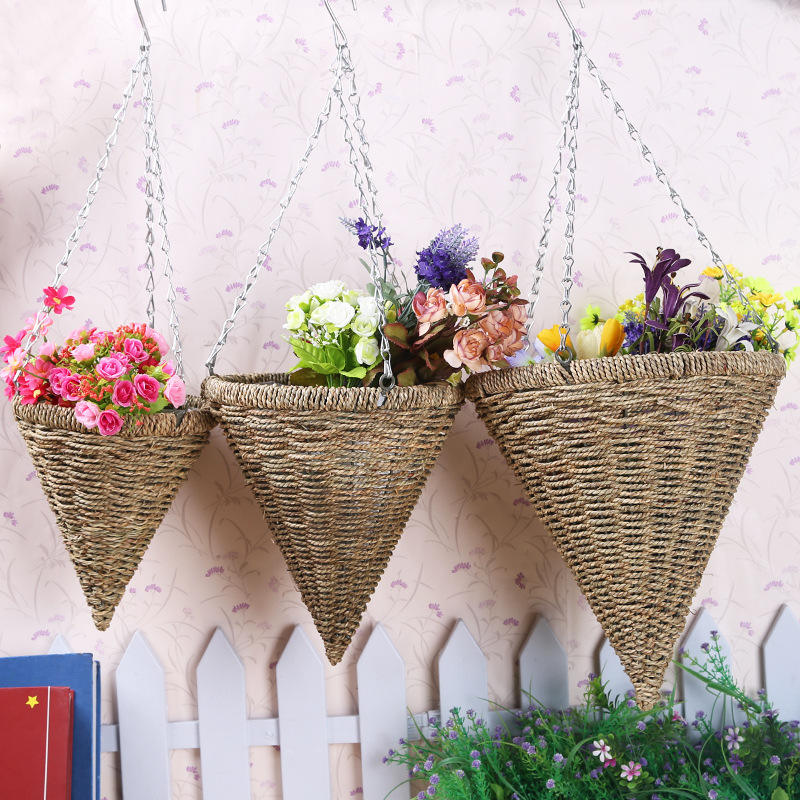 Handmade Rattan Hanging Baskets Cone Shape Flower Basket Pots Planters Indoor Outdoor Weaving Decor