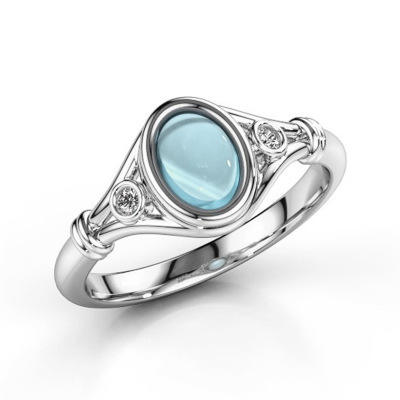 Silver Color Blue Opal Rings Crystal Party Wedding for Women Jewelry Oval for Women Girls Gift