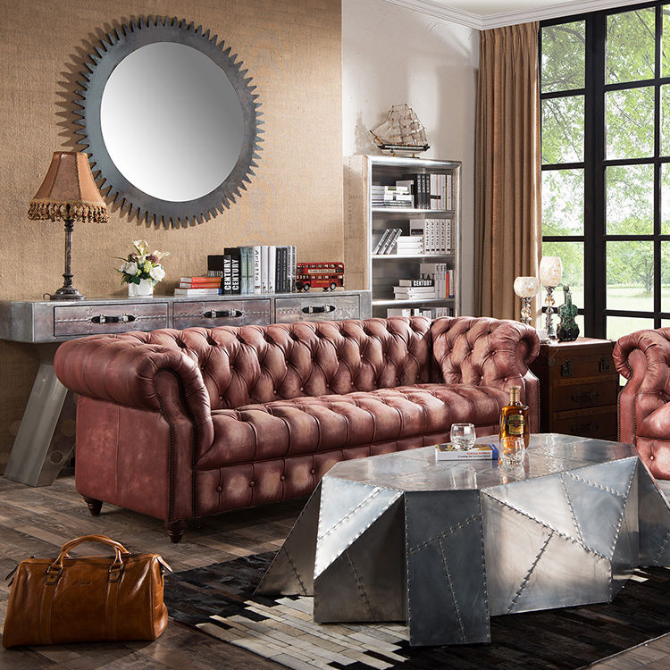 Luxury Leather Sofa Seating Sofas Sectionals Living Room Modern European Chesterfield Style