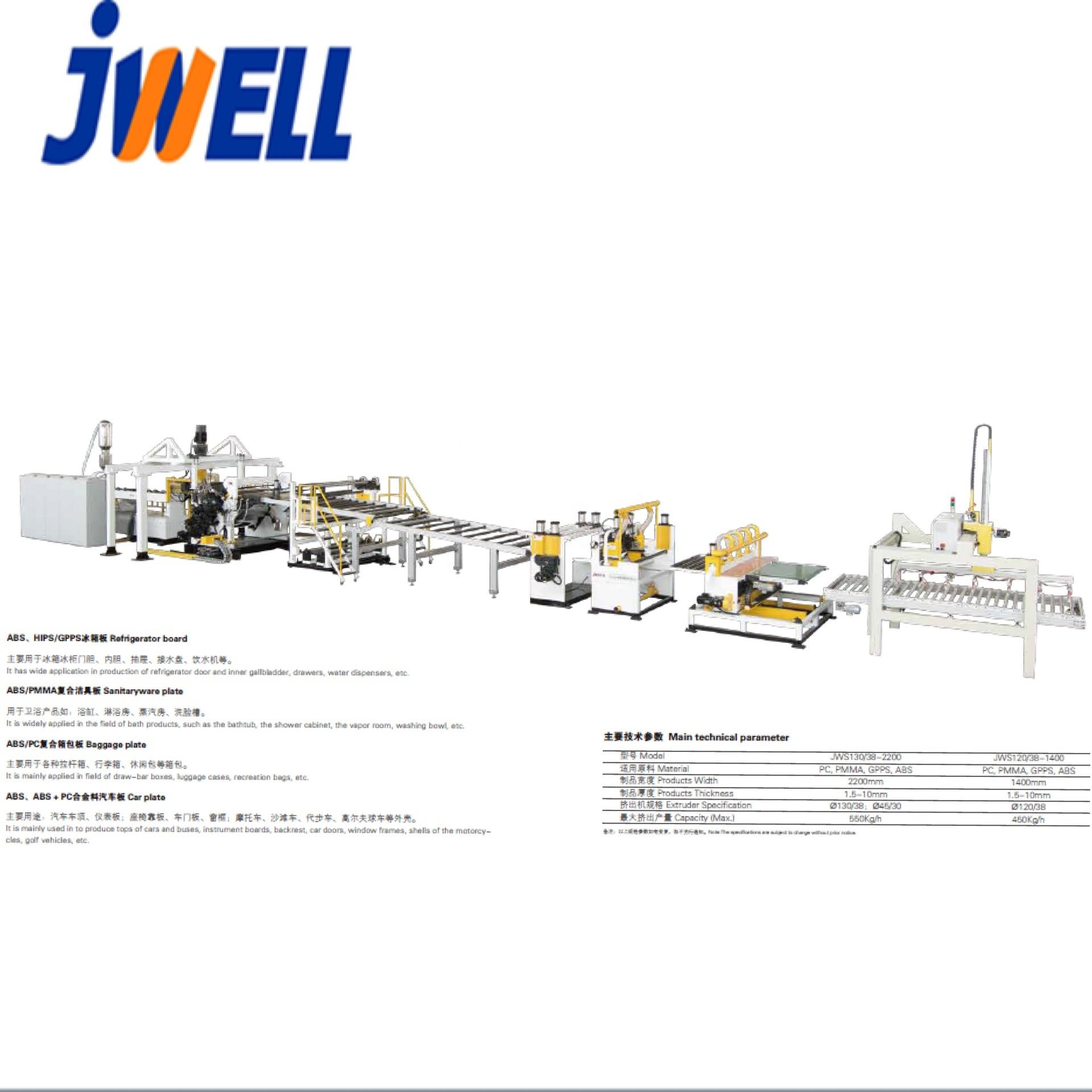 JWELL Recycled Plastic PVC PC PET ABS GPPS PMMA Corrugated Roof Tile Sheet Making Machine