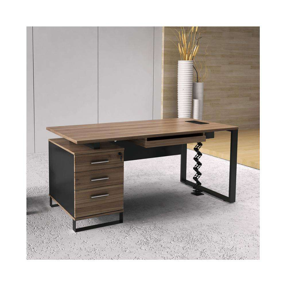 Teak Wood Melamine Home Office Furniture Set Straight Office Desk With Powder Coated Black Steel Legs