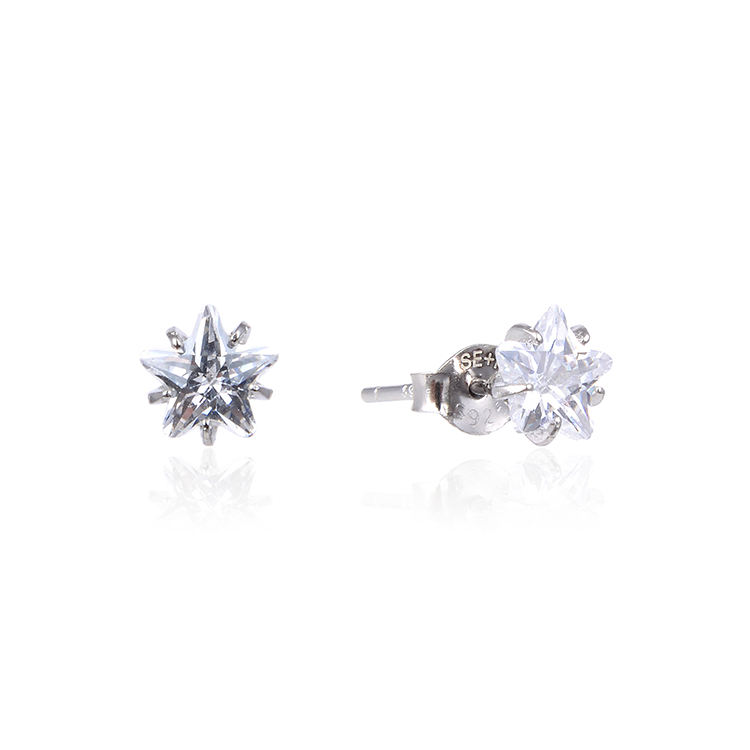 Customized 14k/18k white gold stud round five-pointed star colorless foreverone earring 925 silver
