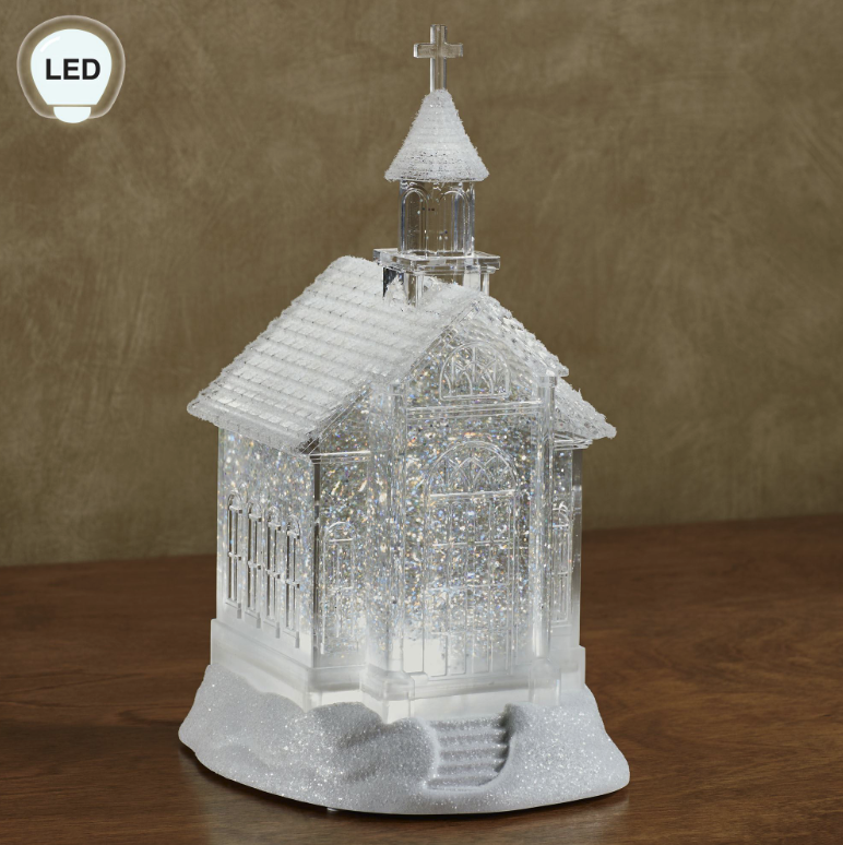 10.5 Inch Lighted Church Water Lantern Snow Globe Swirling Glitter With Timer