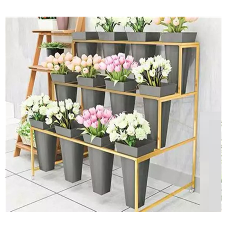 Metal flower display 12pcs buckets plant shop rack metal flower display rack