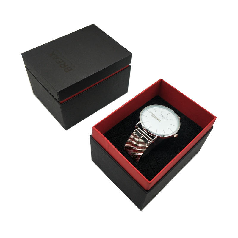 Wholesale custom black square watch gift packaging box manufacturers direct sales men's business watch box
