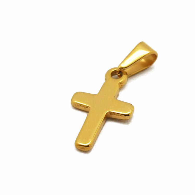 High quality small size accessories unisex stainless steel religious cross 18k gold pendant