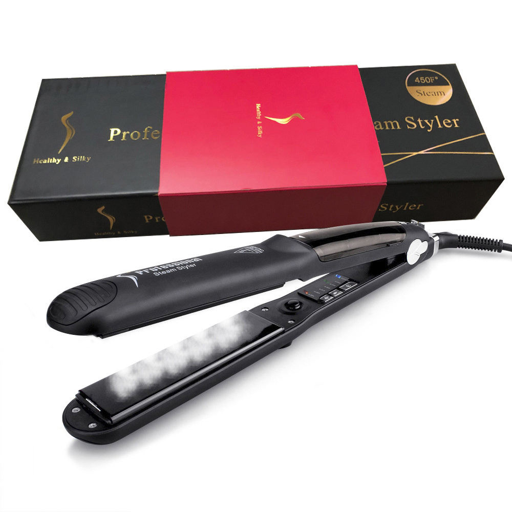 2 In 1 Professionele Stijltang Crystal Ceramic Flat Iron/Stoom Kam Flat Iron Stijltang
