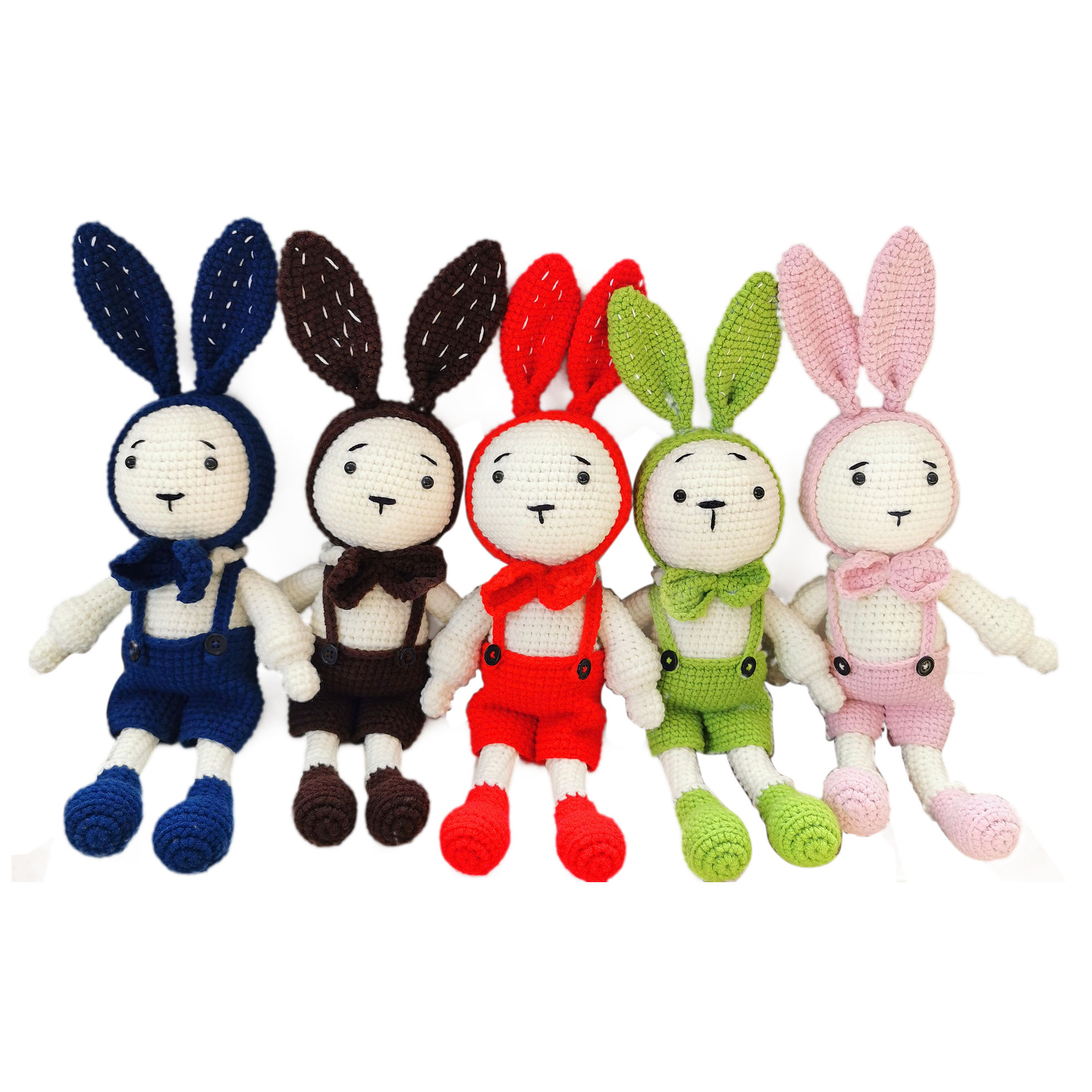 Wholesales handmade DIY knitted crochet plush rabbit toys bunny doll