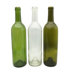 China precio barato al por mayor 750ml botellas de vino verde claro Burdeos con corcho