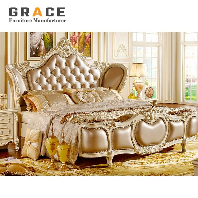 H8818W hot sale European style luxury wedding bed room furniture bedroom set