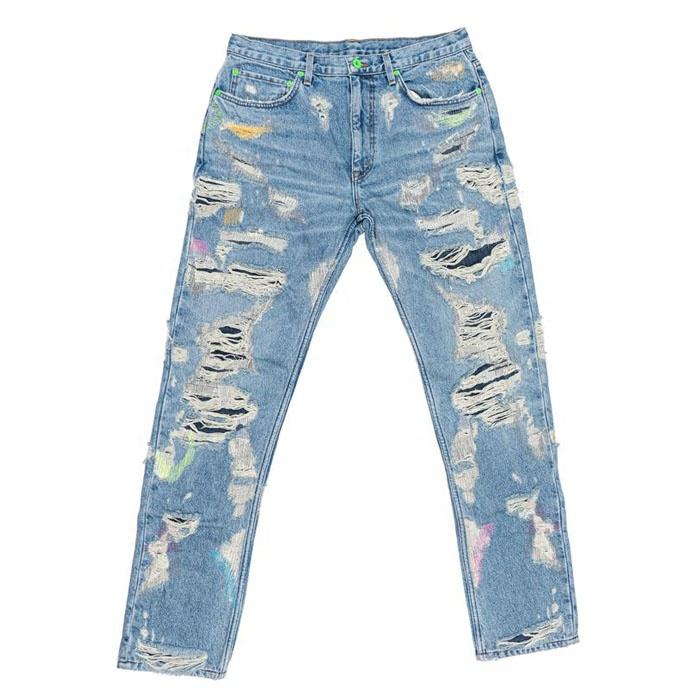 Diznew OEM Denim Baggy Pants Distressed Streetwear Super Ripped Jeans Men
