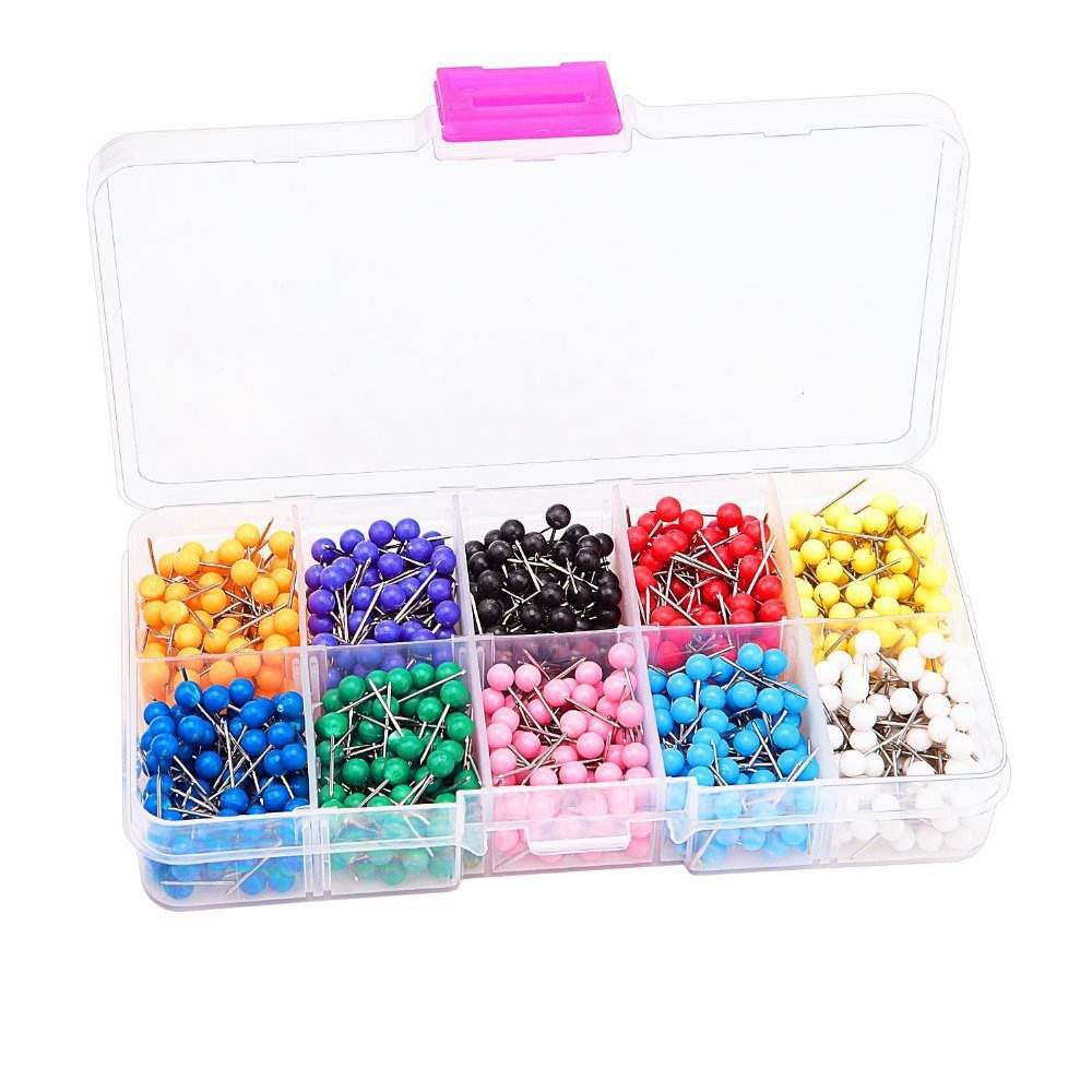 Map Tacks Push Pins Plastic Head with Steel Point,Cork Board Safety Colored Thumbtack Office School Supply
