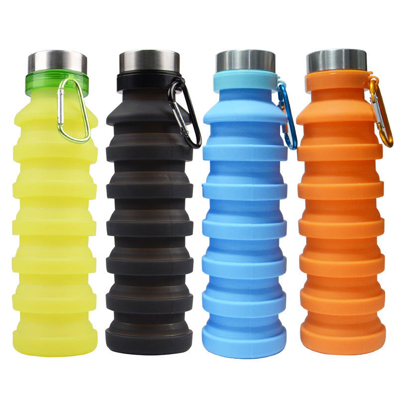 2019 Amazon Hot Sale Outdoor Portable Collapsible Water Cup Magic Spiral Folding Telescopic Silicone Water Sport Bottle