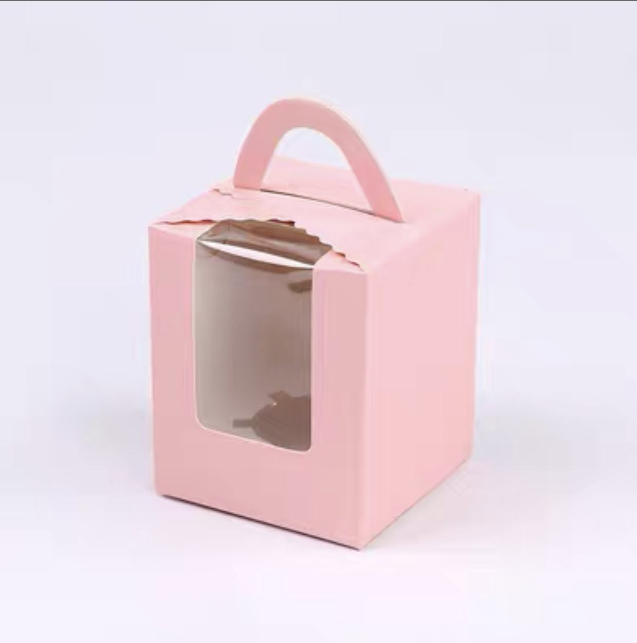Factory price fancy white cardboard carton packaging single cupcake paper box with window