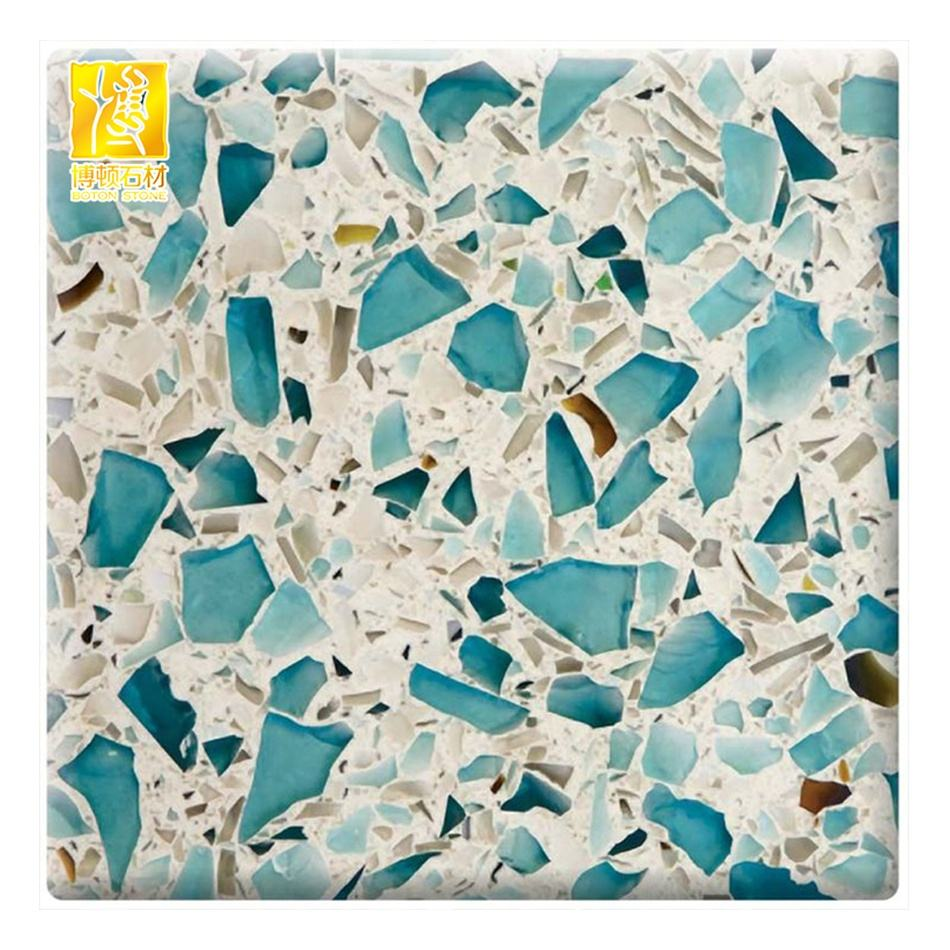 Blau glas chips natural finish terrazzo topf bodenfliesen