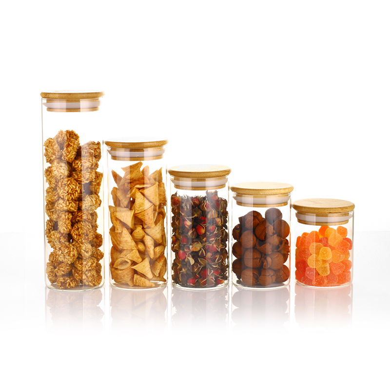 Food Tea Candy Cookies Food Airtight Storage Cylinder High Borosilicate Glass Jar With Bamboo Lid