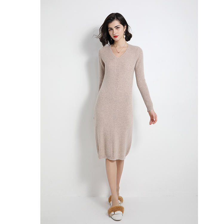 Korea style long sleeve bodycon cashmere wool dress for girls lady