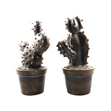 Vintage Rustic Bronze Distessed Iron Resin Artificial Cactus for Loft Style Home Decor or Ornaments
