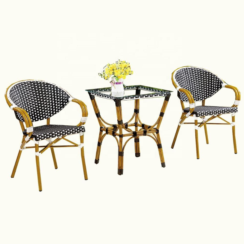 3 Piece Patio Outdoor Conversation Set with Glass Coffee Table stackable chair and table for restaurant
